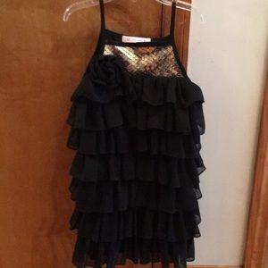 Girls black chiffon dress.